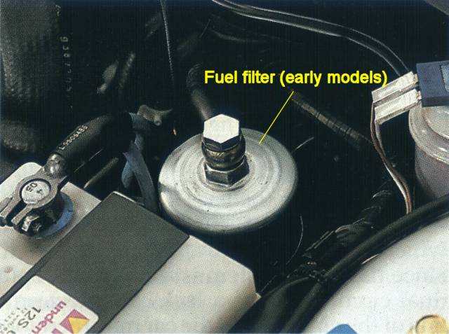 replacing the fuel filter on the saab 9000on earlier cars, locate the fuel filter in the engine compartment, to the rear of the battery note that the rest of the procedure is based on experience